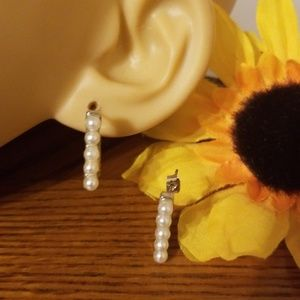 Tiny Squared Pearl Open Back Hoop Earrings